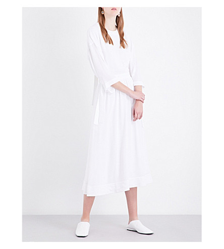 ROSETTA GETTY Open-back crepe shirt dress (White