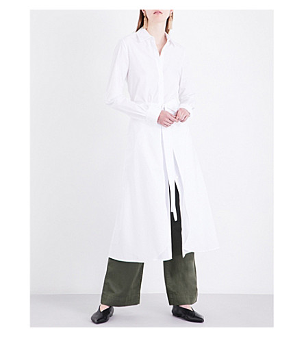 ROSETTA GETTY Knotted cotton-poplin shirt dress (White