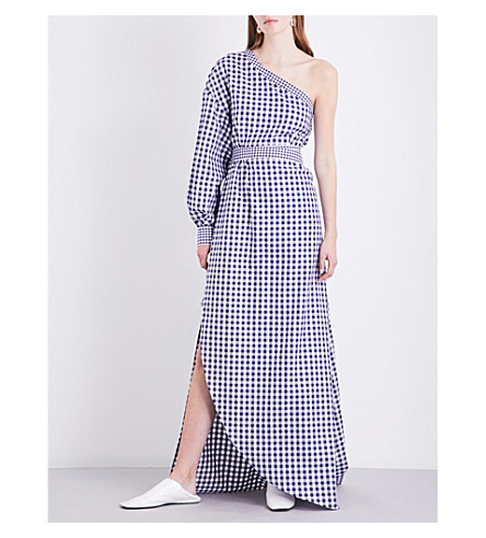 ROSETTA GETTY Asymmetric gingham cotton-poplin gown (Navy/white