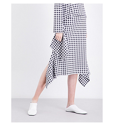ROSETTA GETTY Asymmetric gingham woven skirt (Navy/white