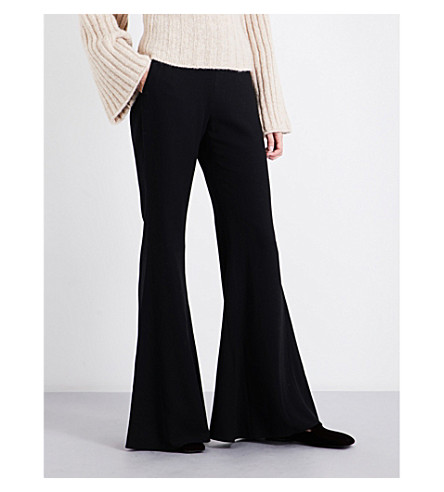 ROSETTA GETTY Flared high-rise crepe trousers (Black