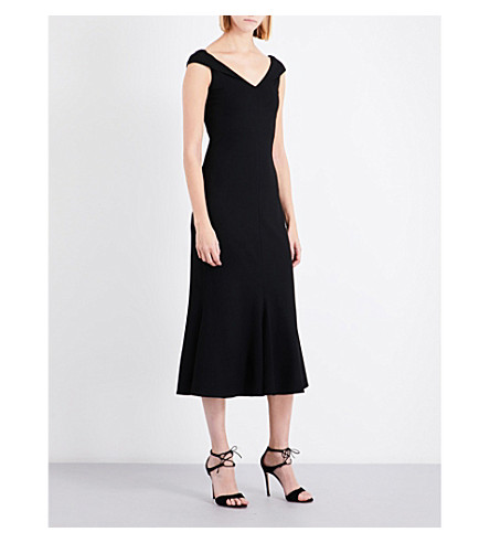 ROSETTA GETTY V-neck cap-sleeve fit-and-flare jersey dress (Black