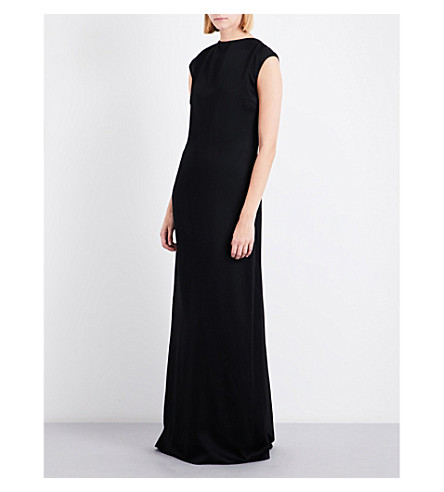 ROSETTA GETTY Draped-back cap-sleeve satin gown (Black
