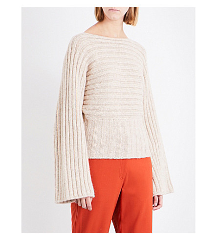 ROSETTA GETTY Boat-neck ribbed-knit alpaca-blend jumper (Parchment