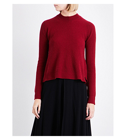 ROSETTA GETTY Stepped-hem ribbed-knit cashmere jumper (Oxblood