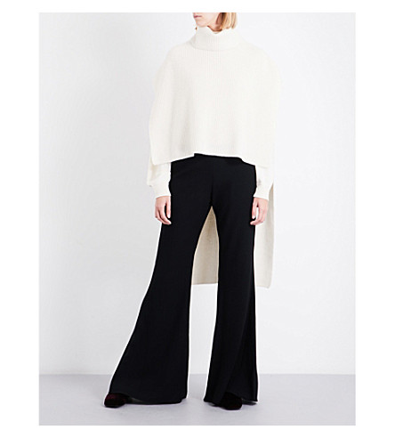 ROSETTA GETTY Turtleneck ribbed-knit cashmere poncho (Ivory