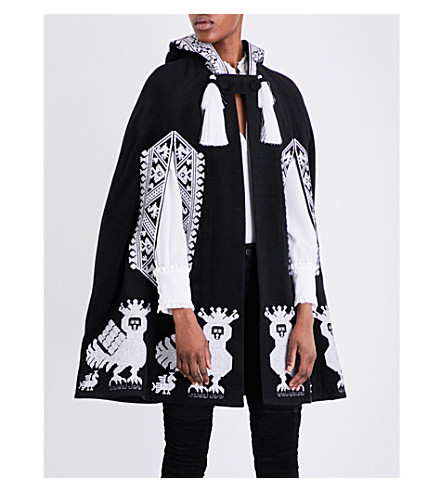 YULIYA MAGDYCH Alkonst embroidered stretch-wool cape (Black+with+white