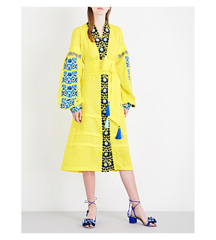 YULIYA MAGDYCH Balcony Flowers embroidered linen midi kaftan (Yellow+blue