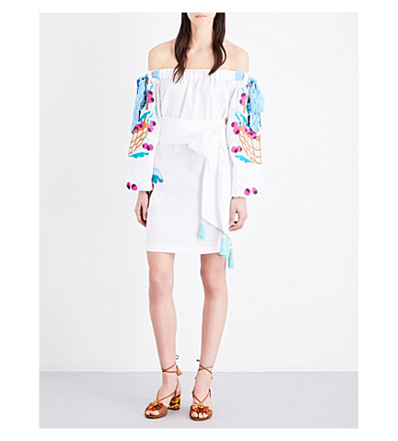 YULIYA MAGDYCH Cherry off-the-shoulder embroidered linen mini dress (White