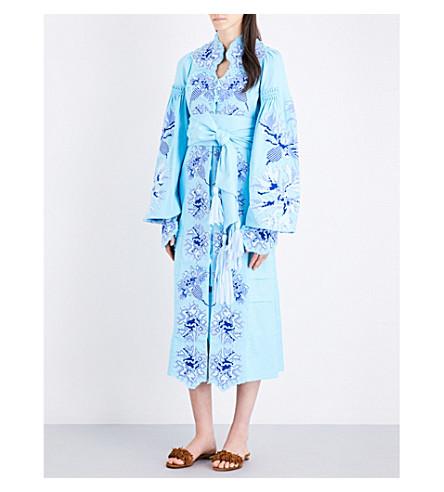 YULIYA MAGDYCH Cornflowers embroidered linen midi kaftan (Dolce+blue