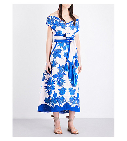YULIYA MAGDYCH Cornflowers off-the-shoulder embroidered linen midi dress (Dolce+rose