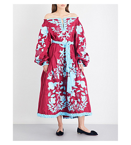 YULIYA MAGDYCH Floral-embroidered linen maxi dress (Wine+/+turq