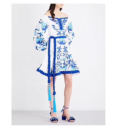 YULIYA MAGDYCH Garnet off-the-shoulder embroidered linen dress (White+/+blue