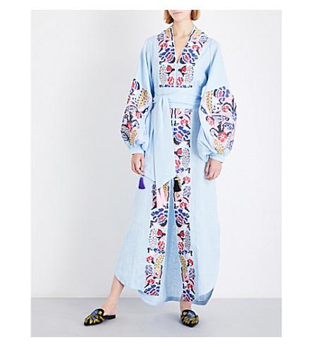 YULIYA MAGDYCH Harvest embroidered linen midi kaftan (Blue