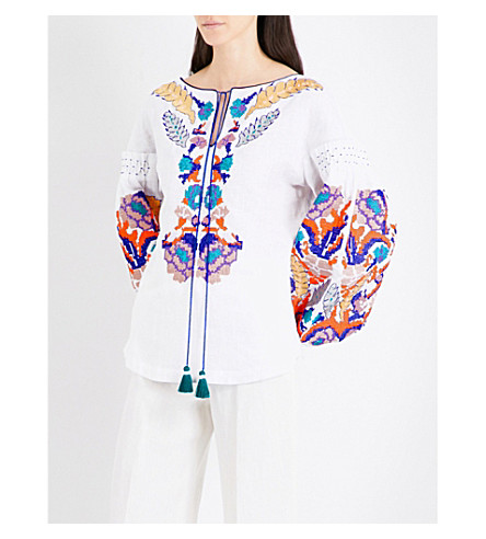 YULIYA MAGDYCH Harvest embroidered linen blouse (White