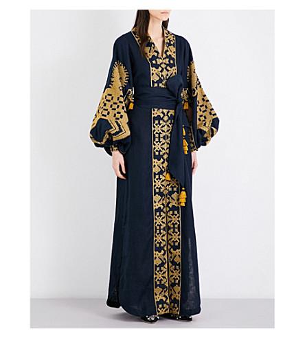 YULIYA MAGDYCH Heard embroidered linen maxi kaftan (Blue+/+gold