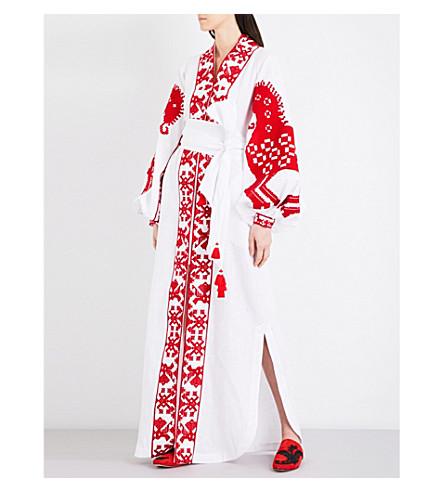 YULIYA MAGDYCH Heard embroidered linen maxi kaftan (White+/+red