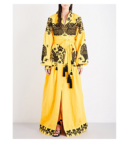 YULIYA MAGDYCH King of Beasts embroidered linen maxi dress (Yellow
