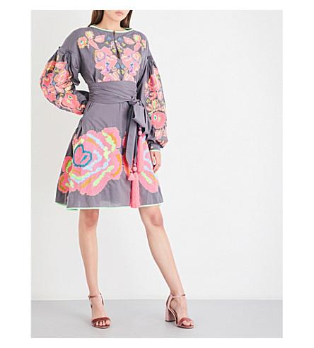 YULIYA MAGDYCH Love Confession embroidered cotton dress (Grey+/+fuschia