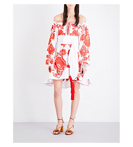 YULIYA MAGDYCH Roses off-the-shoulder embroidered linen mini dress (White+red