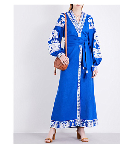 YULIYA MAGDYCH Swan embroidered linen maxi kaftan (Blue+/+white