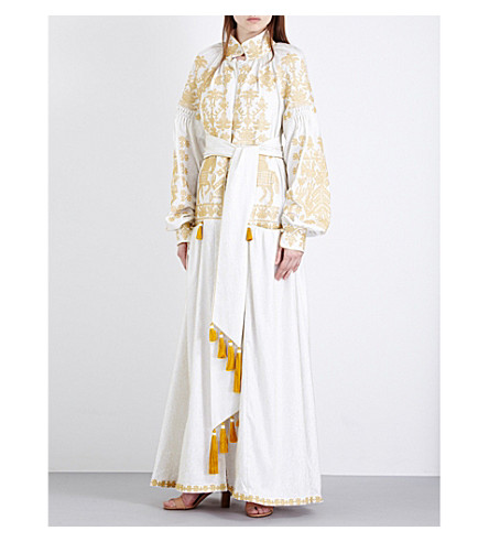 YULIYA MAGDYCH Wedding embroidered linen maxi dress (Gold