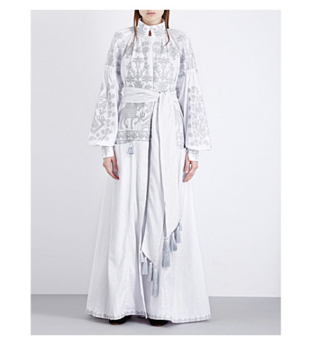 YULIYA MAGDYCH Wedding embroidered linen maxi dress (Silver
