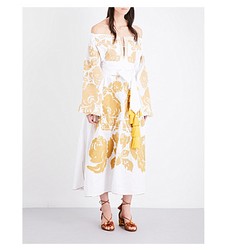 YULIYA MAGDYCH Wedding off-the-shoulder embroidered linen maxi dress (White+rose+gold