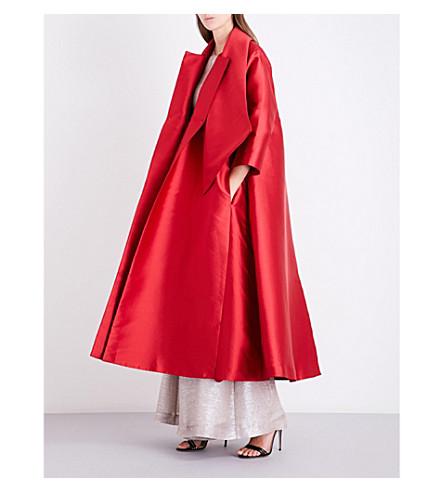 MERCHANT ARCHIVE Oversized satin coat (Poppy+red