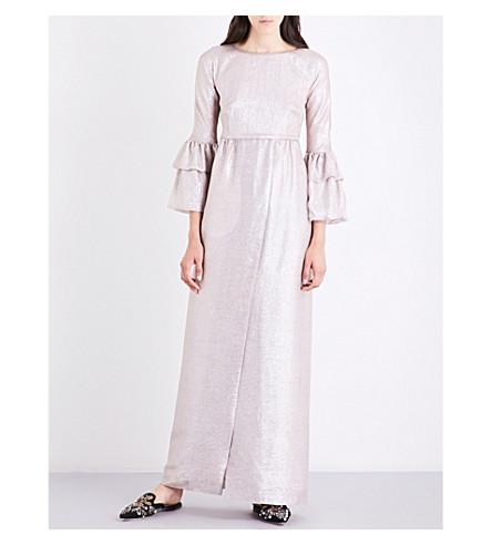 MERCHANT ARCHIVE Metallic silk-blend gown (Silver