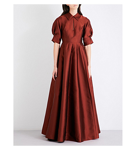MERCHANT ARCHIVE Hero point-collar satin gown (Rust