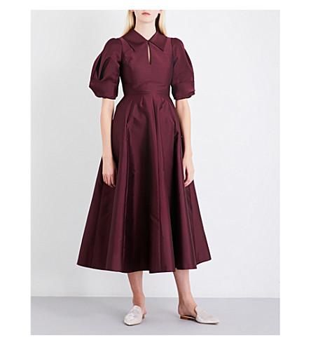 MERCHANT ARCHIVE Drape-sleeve satin midi dress (Merlot