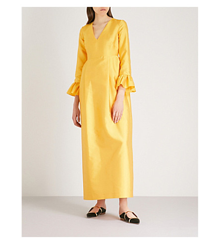 MERCHANT ARCHIVE Frilled-cuff woven tulip gown (Yellow+satin+couture