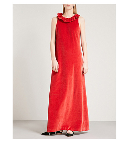 MERCHANT ARCHIVE Frilled-neck sleeveless velvet gown (Red+velvet