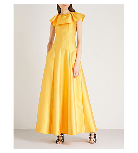 MERCHANT ARCHIVE Frilled-collar sleeveless woven gown (Yellow+satin+couture