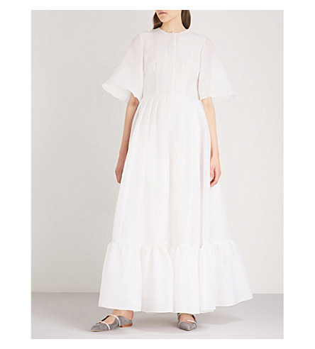 MERCHANT ARCHIVE Ruffled-hem linen cotton and silk-blend gown (White+squiggle