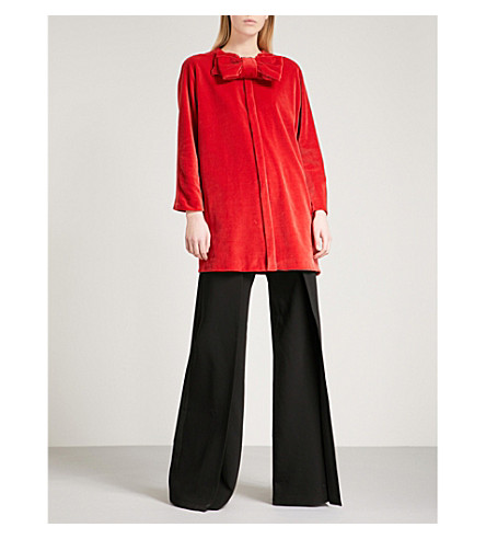 MERCHANT ARCHIVE Bow-embellished velvet jacket (Red+velvet