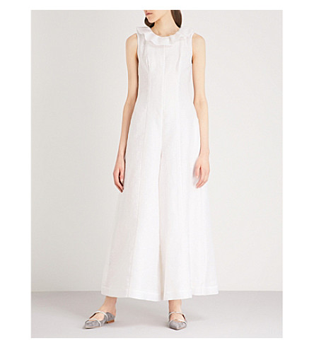 MERCHANT ARCHIVE Frilled-collar woven jumpsuit (White