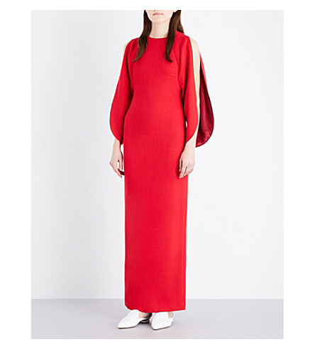 MERCHANT ARCHIVE Open-sleeve wool-crepe gown (Lipstick red