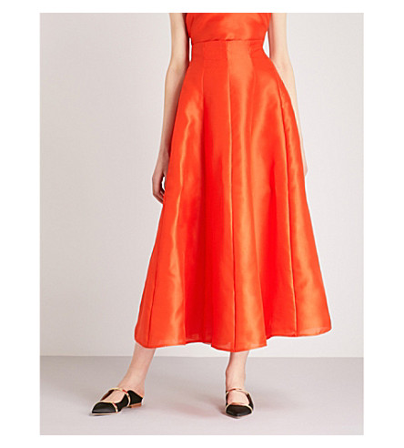 MERCHANT ARCHIVE A-line silk midi skirt (Orange