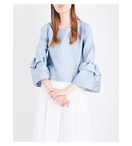 MERCHANT ARCHIVE Ruff-sleeve satin-twill blouse (Powder+blue
