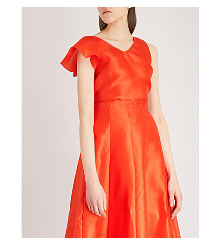 MERCHANT ARCHIVE Asymmetric silk top (Orange+gazaar