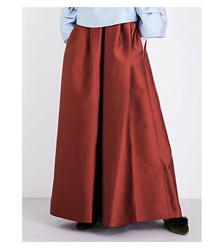 MERCHANT ARCHIVE Wide-leg satin-twill trousers (Rust