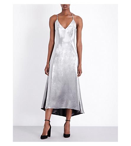 RACIL Metallic silk-blend slip dress (Silver