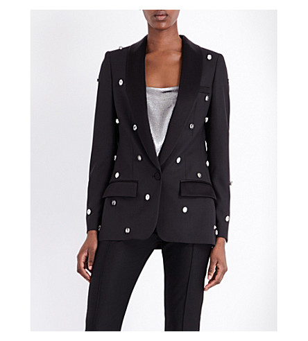 RACIL Swarovski crystal-embellished wool jacket (Black+w/+crystals