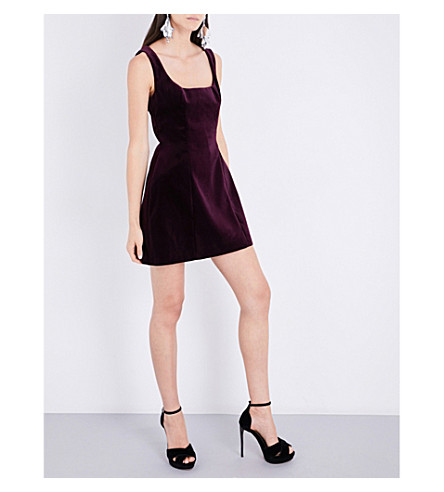 RACIL Bedford velvet mini dress (Aubergine+velvet