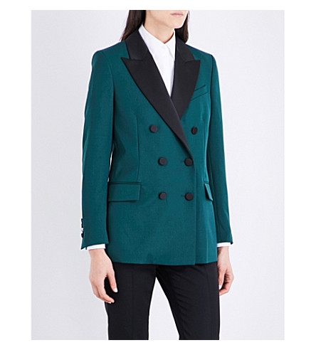 RACIL Cambridge wool tuxedo jacket (Forest+black+satin