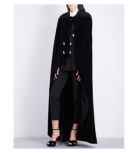 RACIL Inverness long-length velvet cape (Black+velvet