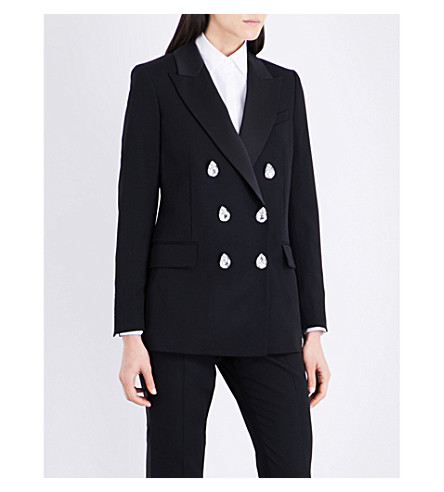 RACIL Cambridge wool tuxedo jacket (Black+satin+stones