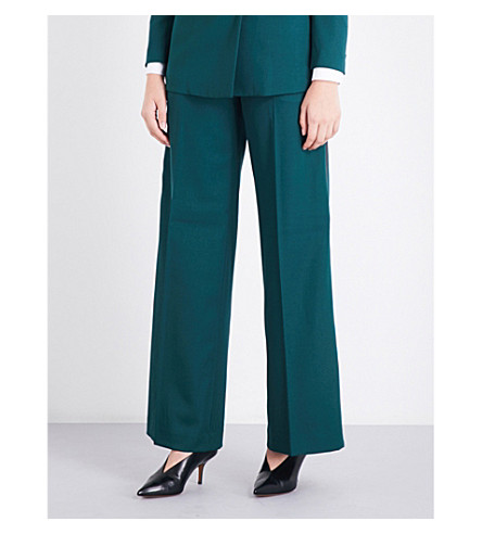 RACIL Cumberland wool palazzo trousers (Forest+black+satin
